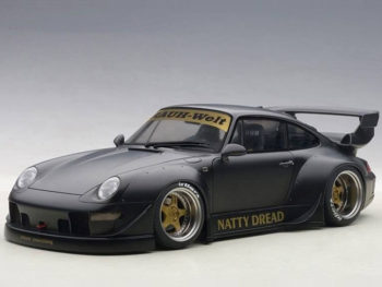 AUTOart 78154 Porsche RWB 993 1:18 Matte Black with Gold Wheels