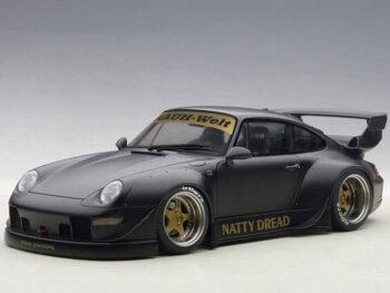 AUTOart 78154 Porsche RWB 993 1:18 Matte Black with Gold Wheels