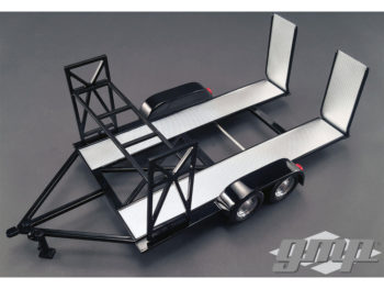 GMP 18820 Tandem Car Trailer Carrier with Tire Rack For 1:18 Diecast Car Black Silver