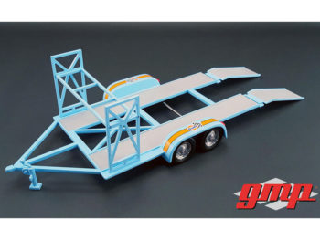 GMP 18835 Gulf Oil Tandem Car Trailer Carrier with Tire Rack For 1:18 Diecast Car Light Blue