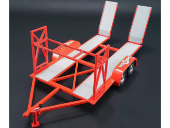 GMP 18868 Tandem Car Trailer Texaco Carrier with Tire Rack For 1:18 Diecast Car Red