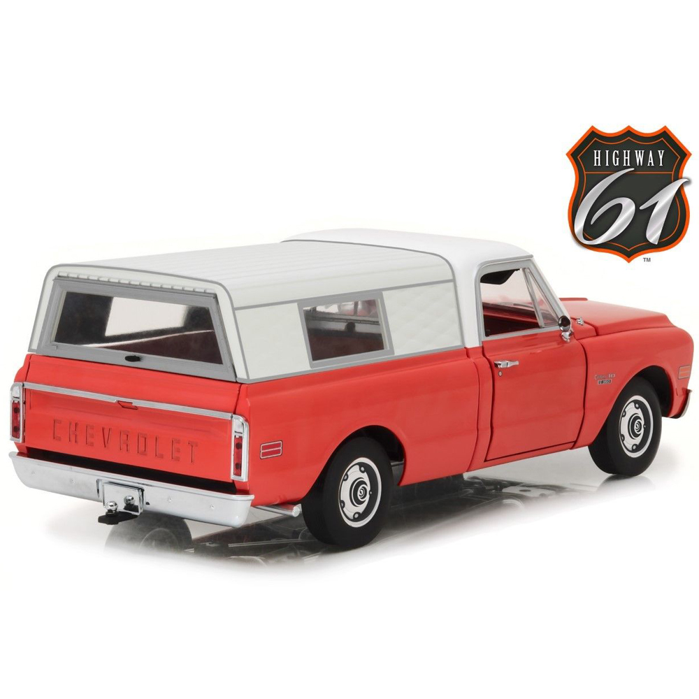 Highway 61 18004 1970 Chevrolet C-10 Pick Up Truck with Camper Shell 1:18  Red