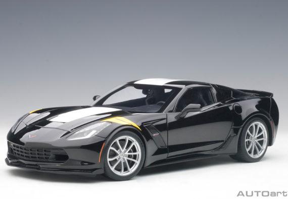 AUTOart 71273 Chevrolet Corvette Grand Sport 1:18 Black with White Stripes