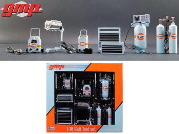 GMP 18872 Gulf Oil Garage Shop Tools Set For 1:18 Diecast Model Car Light Blue