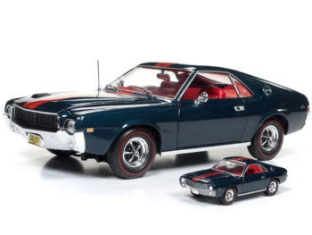 Autoworld Amm1124 1968 Amc Amx Class of 68 50th Anniversary 1:18 & 1:64 Set Blue