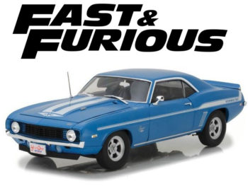 Highway 61 18001 Fast & Furious Brian's 1969 Chevrolet Camaro Yenko 1:18 Blue