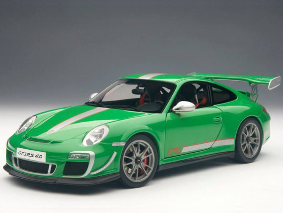 AUTOart 78149 Porsche 911 997 GT3 RS 4.0 1:18 Green with Silver Stripes