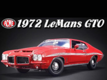 Acme A1801210 1972 Pontiac LeMans GTO 1:18 Red with White Stripes