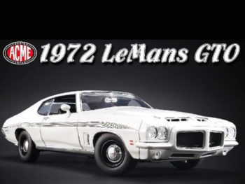 Acme A1801211 1972 Pontiac LeMans GTO 1:18 White with Black Stripes
