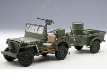 AUTOart 74016 Jeep Willys Army 1:18 with Trailer and Accessories Green