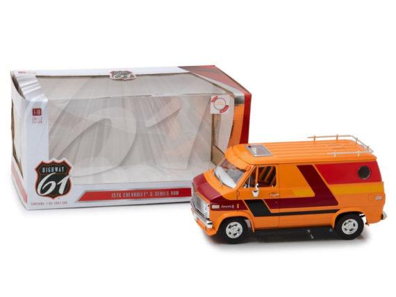 Highway 61 18012 1976 Chevrolet G10 G Series Van 1:18 with Custom Graphics Orange