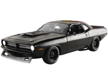 Acme A1806108 1970 Plymouth Barracuda Trans Am Street Version 1:18 Matte Black