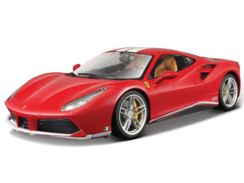 Bburago 18-76102 Ferrari 488 GTB 1:18 Schumacher 70th Anniversary Red with White Stripes