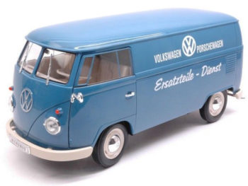 "Welly 18053 1963 VW Volkswagen T1 Bus Van ""Porsche Wagen"" 1:18 Blue"