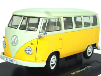 Welly 18054 1963 VW Volkswagen T1 Bus Van 1:18 Yellow / Beige