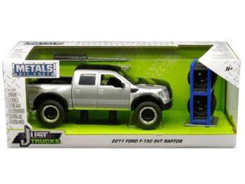 Jada 30198 Just Trucks with Extra Wheels 1:24 2011 Ford F-150 SVT Raptor Pickup Truck Silver