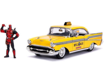 Jada 30290 Hollywood Rides 1957 Chevy Bel Air Taxi 1:24 with Deadpool Figure