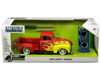 Jada 30355 Just Trucks with Extra Wheels 1:24 1953 Chevrolet Pickup Truck Red with Flames