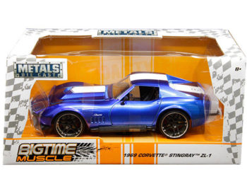 Jada 30532 Bigtime Muscle 1969 Chevrolet Corvette Stingray ZL-1 1:24 Blue with White Stripes