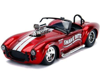 Jada 30705 Bigtime Muscle 1965 Shelby Cobra 427 S/C with Blower Engine 1:24 Candy Red