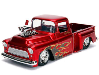 Jada 30713 Just Trucks 1955 Chevrolet Stepside Pick Up Truck Blower Engine 1:24 Candy Red with Flames
