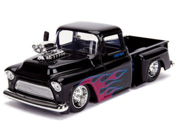 Jada 30714 Just Trucks 1955 Chevrolet Stepside Pick Up Truck Blower Engine 1:24 Black with Flames