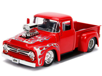 Jada 30715 Just Trucks 1956 Ford F-100 Pick Up Truck Blower Engine 1:24 Red with Flames