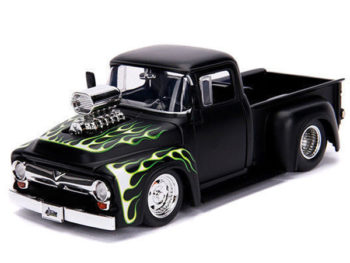 Jada 30716 Just Trucks 1956 Ford F-100 Pick Up Truck Blower Engine 1:24 Black with Flames