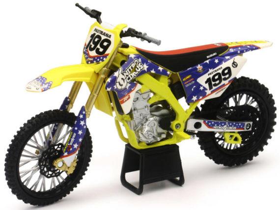 New Ray 57993 Suzuki Rmz 450 Nitro Circus Dirt Bike 1:12 #199 Travis Pastrana