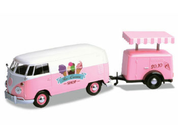 Motormax 79672 VW Volkswagen T1 Pickup Truck 1:24 with Ice Cream Trailer Pink