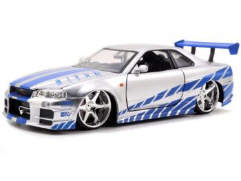 Jada 97158 2 Fast & 2 Furious Brian's Nissan Skyline GT-R R34 1:24 Silver Blue