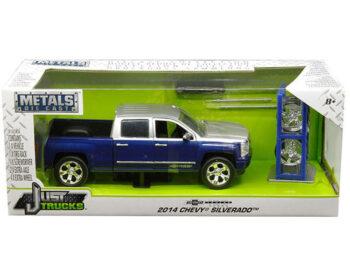 Jada 30041 Just Trucks with Extra Wheels 1:24 2014 Chevrolet Silverado Pickup Truck Blue / Silver