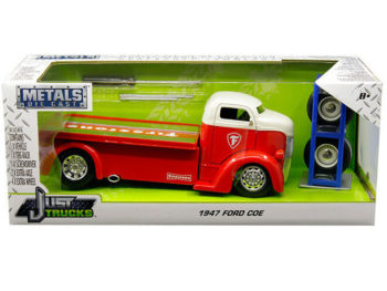 Jada 30523 Just Trucks with Extra Wheels 1:24 1947 Ford COE Tow Truck Firestone Red White Top