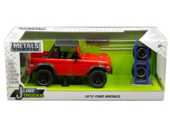 Jada 30518 Just Trucks with Extra Wheels 1:24 1973 Ford Bronco Red with Matte Black Top