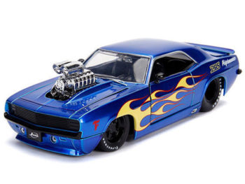 Jada 30708 Bigtime Muscle 1969 Chevrolet Camaro with Blower Engine 1:24 Blue with Yellow Flames