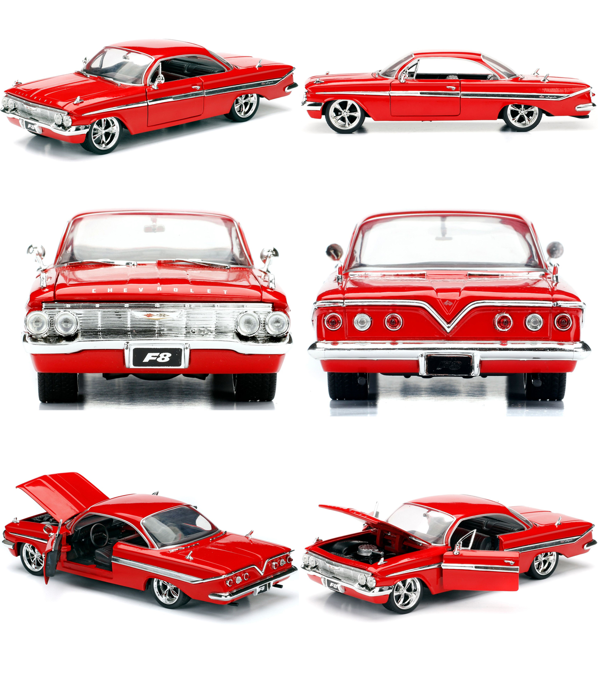 NEW JADA FAST AND FURIOUS 8 DOM/'S CHEVY IMPALA 1//24 DIECAST MODEL CAR RED 98426