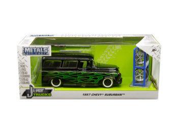 Jada 97821 Just Trucks with Extra Wheels 1:24 1957 Chevrolet Suburban Black with Green Flames