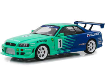 Greenlight 19050 1999 Nissan Skyline GT-R R34 #1 Falken Tires 1:18 Green Blue