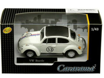 Cararama 41184 VW Volkswagen Beetle # 53 with Stripes & Black Top 1:43 Cream