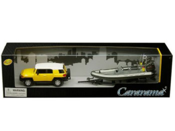 Cararama 48115 Toyota FJ Cruiser with Speed Boat & Trailer 1:43 Yellow