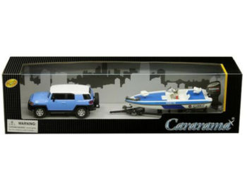 Cararama 48116 Toyota FJ Cruiser with Speed Boat & Trailer 1:43 Blue