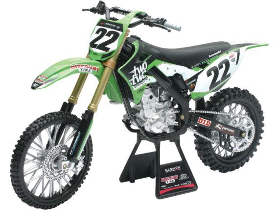 New Ray 49493 Two Two Kawasaki KX 450F 1:6 #22 Chad Reed Green