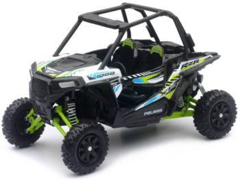 New Ray 57593 C Polaris RZR XP 1000 Dune Buggy 4 Wheels 1:18 White Green