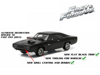 Greenlight 86228 Fast & Furious 5 Dom's 1970 Dodge Charger R/T 1:43 Black