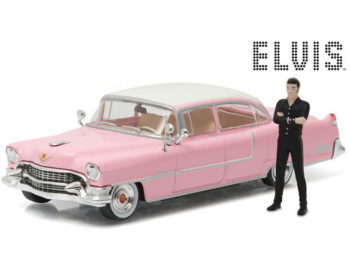 Greenlight 86436 1955 Cadillac Series 60 1:43 with Elvis Presley Figure Pink