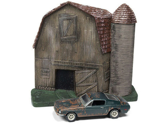 Johnny Lightning JLSP059 Barn Finds Diorama 1968 Ford Mustang GT Fastback 1:64 Green