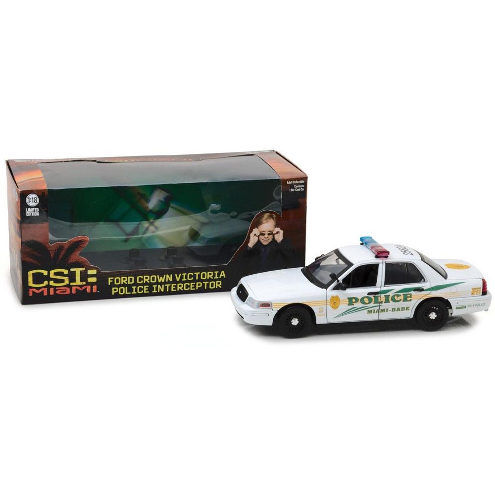 GREENLIGHT 1:18 CSI MIAMI 2003 FORD CROWN VICTORIA POLICE DIE-CAST WHITE 13514