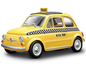 Bburago 18-22105 Fiat 500 NYC New York Taxi Cab 1:24 Yellow