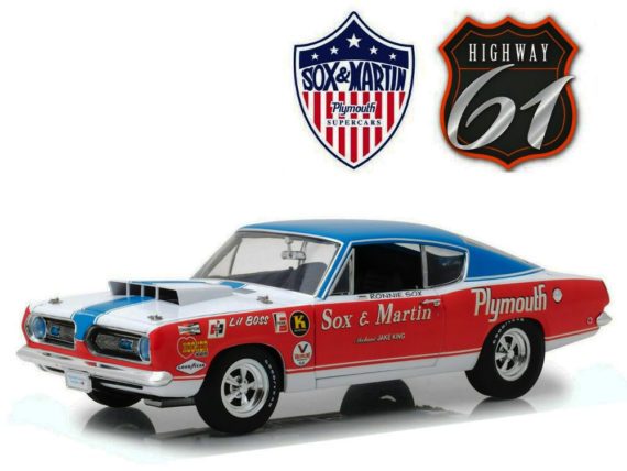 Highway 61 18003 Sox & Martin 1968 Plymouth Barracuda 1:18 Red White Blue