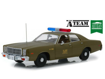 Greenlight 19053 The A Team 1977 Plymouth Fury US Army Ploice Car 1:18 Green